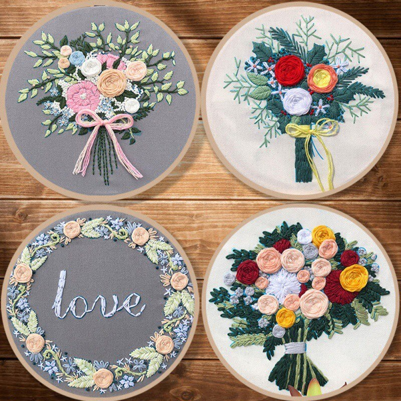 Embroidery Assorted Patterns Kits with Bamboo Hoop