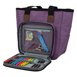 Crochet / Knitting  Sewing Tote Bag with Yarn & Crochet Hooks, Knitting Storage