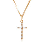 Load image into Gallery viewer, Elegant Gold Silver Plated Zircon Cross Pendant Necklace