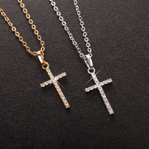 Elegant Gold Silver Plated Zircon Cross Pendant Necklace