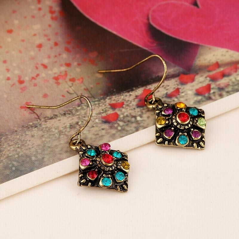Exquisite Bohemian National Wind Retro Rhinestone Earrings
