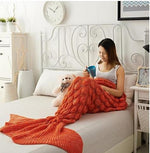 Load image into Gallery viewer, Cashmere-Like Knitted Mermaid Tail Blanket