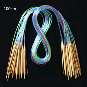 18Pcs/Set Circular Knitting Needles Set Soft Tube 100% Bamboo Circular Needles