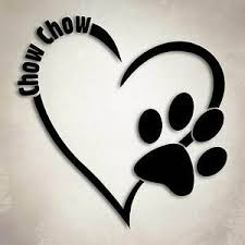 Chow Chow in a Heart with pawprint