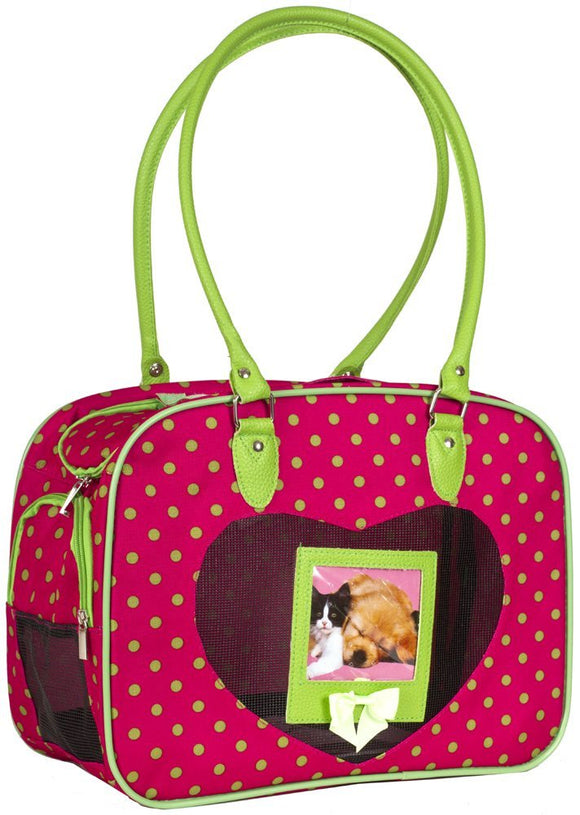 J Garden Green Pink Polka Dot Pet Dog Cat Carrier