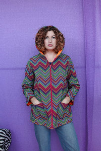 Rain Coat in Digital Rainbow Chevron