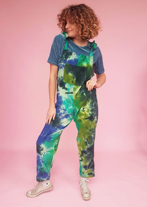 Tie Dye Cord Dungarees in Blue/Green