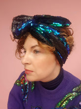 Load image into Gallery viewer, Sequin Head Wrap in Black Teal