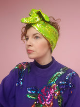 Load image into Gallery viewer, Sequin Head Wrap in Neon Lime