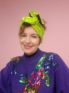 Sequin Head Wrap in Neon Lime