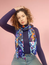 Load image into Gallery viewer, Velvet Scarf in Blue Abstract Floral