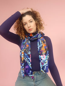 Velvet Scarf in Blue Abstract Floral