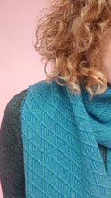 Load image into Gallery viewer, Fair Isle Scarf in Blue Geometric Pattern Felted Pure New Wool
