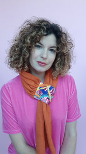 Embellished Pull Through Scarf in Orange