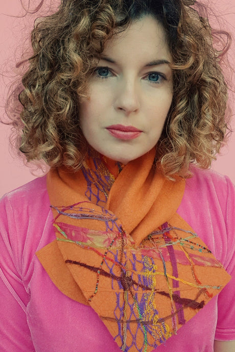 Embellished Lambswool Neck Wrap in Orange