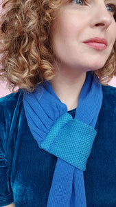 Cotton Knit Pull Through Scarf in Blue