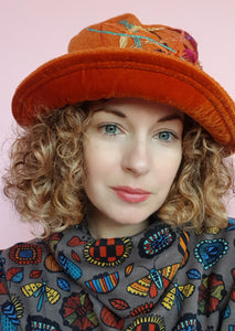 Boiled Wool Brimmed Hat in Orange