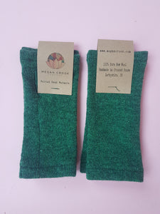 Hand Warmers in Green Felted Pure New Wool