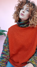 Load image into Gallery viewer, Bouclé Turtleneck Jumper with Rainbow Stripe Sleeves in Burnt Orange
