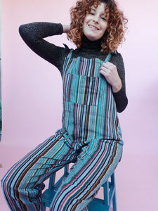 Woven Stripe Dungarees in Teal
