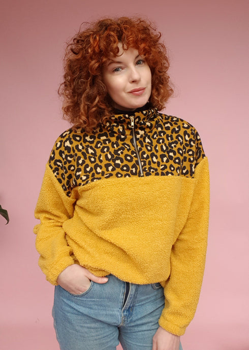 Yellow Leopard and Boucle  Half Zip Pullover