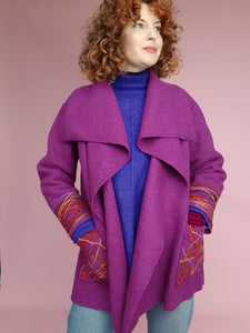 Embellished Wool Coat in Berry
