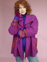 Load image into Gallery viewer, Embellished Wool Coat in Berry