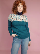 Load image into Gallery viewer, Hand Knit Jumper in Teal Alpaca and Merino Wool