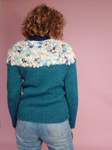Hand Knit Jumper in Teal Alpaca and Merino Wool