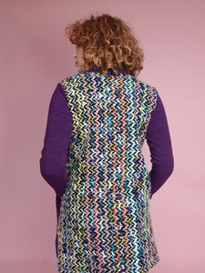 Purple Midi Cardi with Contrast Back