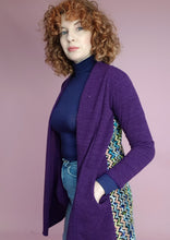 Load image into Gallery viewer, Purple Midi Cardi with Contrast Back