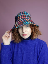 Load image into Gallery viewer, Rain Hat in Digital Plaid Print