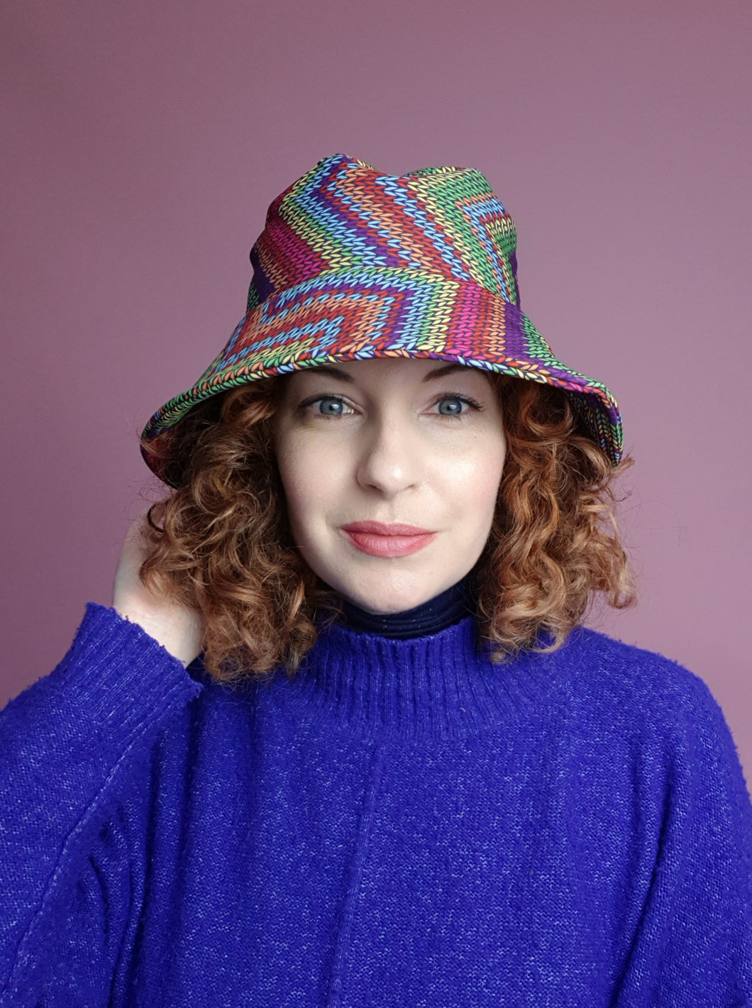 Rain Hat in Digital Chevron Print
