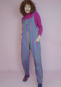 Woven Stripe Dungarees in Purple Multi