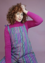 Load image into Gallery viewer, Woven Stripe Dungarees in Purple Multi