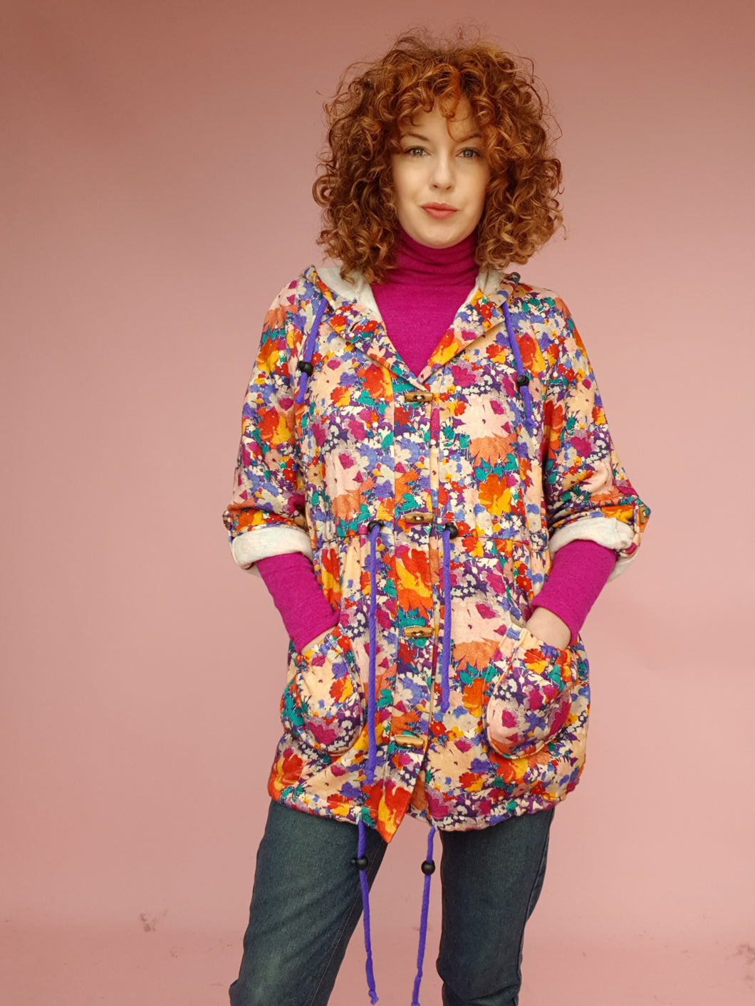 Liberty Fleece Parka in Abstract Floral Print