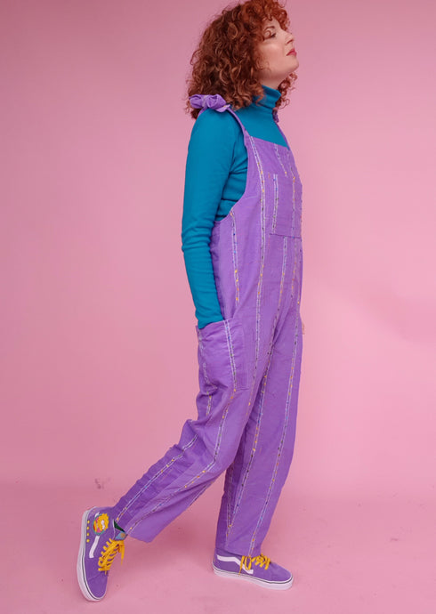 Embroidered Cord Dungarees in Lilac