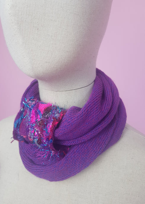 Embellished Cuff Double Wrap Scarf in Purple