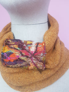 Embellished Cuff Double Wrap Scarf in Mustard