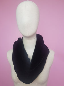 Double Wrap Velvet Cowl in Black
