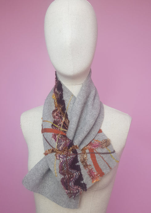 Embellished Lambswool Neck Wrap in Grey