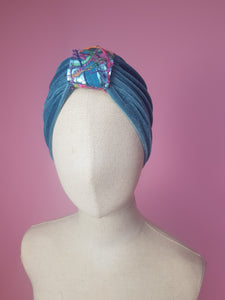 Embellished Velvet Turban in Sage