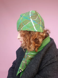 Lambs Wool Embellished Cloche Hat - Clover Green