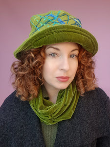 Boiled Wool Brimmed Hat in Olive Green