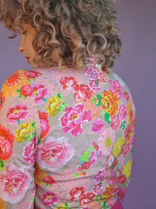 Long Sleeved Turtleneck in Pink Floral