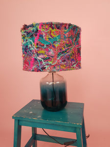 Medium Embellished Lampshade in Pink & Turquoise Mix