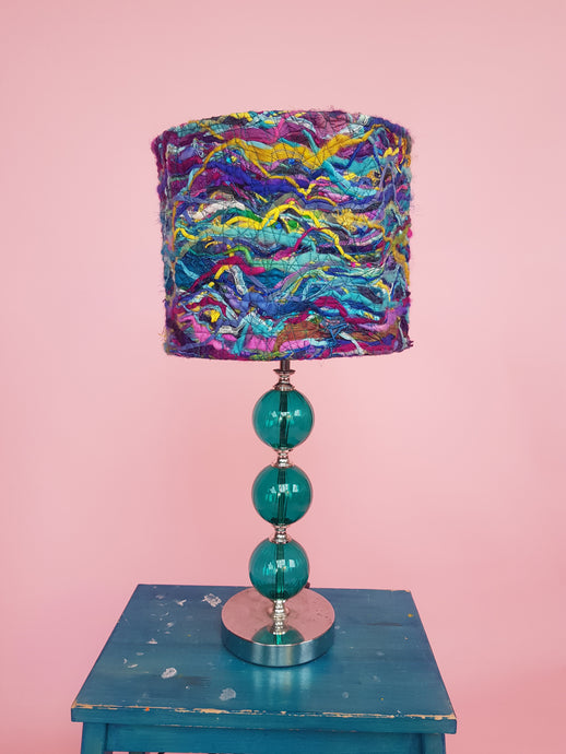 Small Embellished Lampshade in Blue & Purple Mix