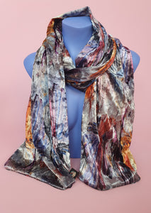 Velvet Scarf in Grey Abstract