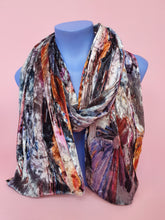 Load image into Gallery viewer, Velvet Scarf & Wrist Warmers Set in Grey Abstract