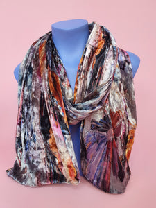 Velvet Scarf & Wrist Warmers Set in Grey Abstract